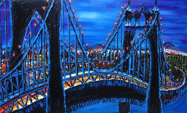 Blue Night Of St. Johns Bridge 12 Print by James Dunbar