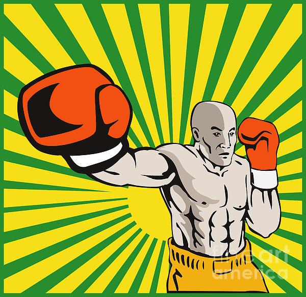 Boxer Boxing Jabbing Front Print by Aloysius Patrimonio