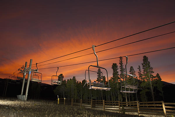 Breckenridge Chairlift Sunset Print by Michael J Bauer