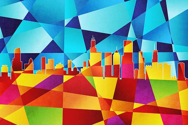 Chicago Illinois Skyline Print by Michael Tompsett