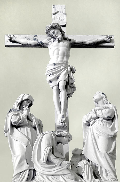 Christ On The Cross With Mourners Evansville Indiana 2006 Print by John Hanou