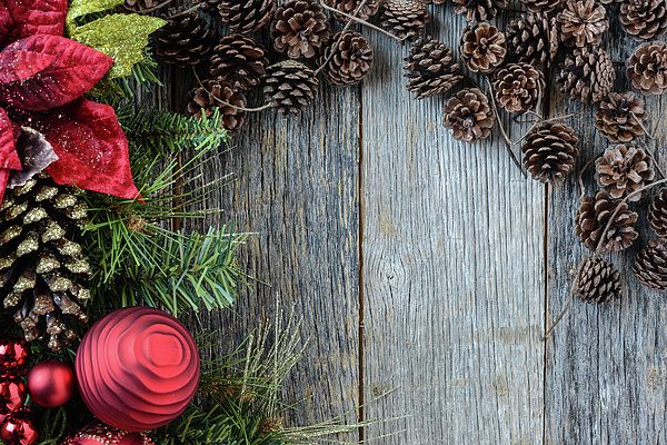 Christmas Decorations With Pine Cones And Rustic Wood Background Print ...