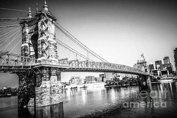 Cincinnati Roebling Bridge Black And White Picture Print by Paul Velgos
