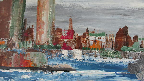 Omar Hafidi   - Cityscape with Barge Passing