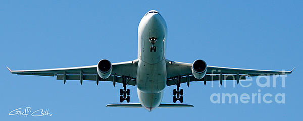 Commercial Aircraft At Sydney Airport Print by Geoff Childs