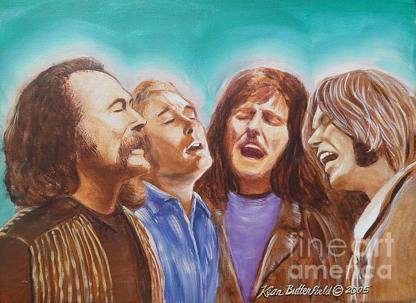 Crosby Stills Nash And Young Print by Kean Butterfield