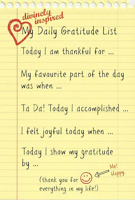 Daily Gratitude List Print By Divinely Inspired