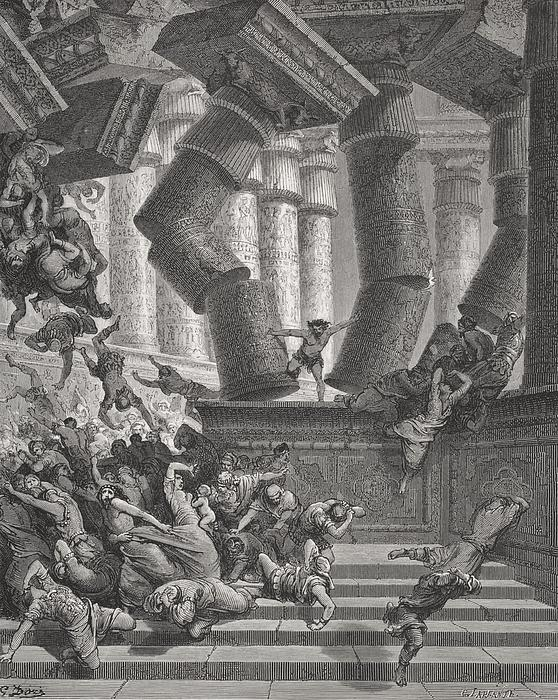 Death Of Samson Print by Gustave Dore