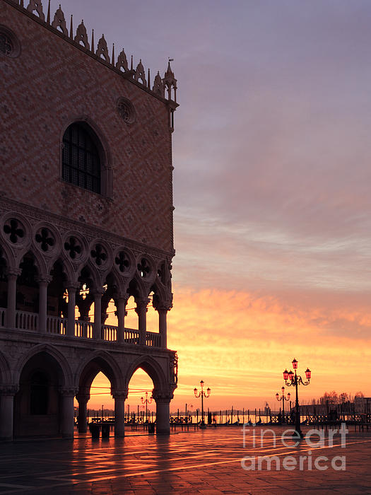 Doges Palace At Sunrise Venice Italy Print by Matteo Colombo