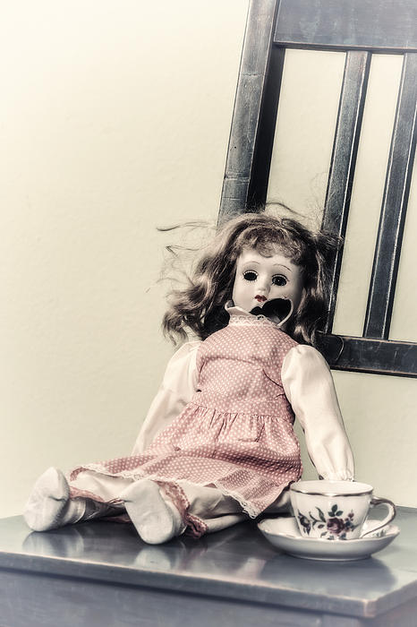 Doll With Tea Cup Print by Joana Kruse