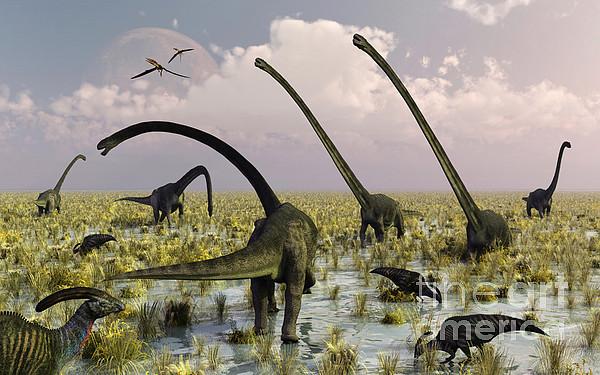 Duckbill Dinosaurs And Large Sauropods Print by Mark Stevenson