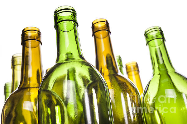 Empty Glass Wine Bottles Print by Colin and Linda McKie