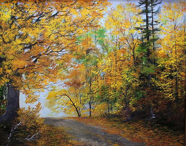 Fall Road Print by Ken Ahlering