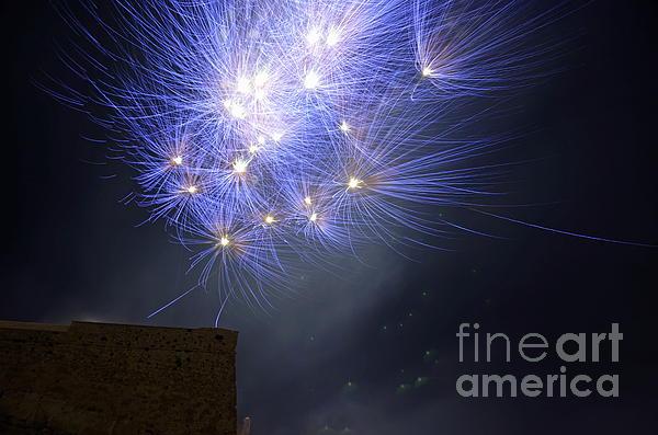 Fireworks On Bastille Day Print by Sami Sarkis