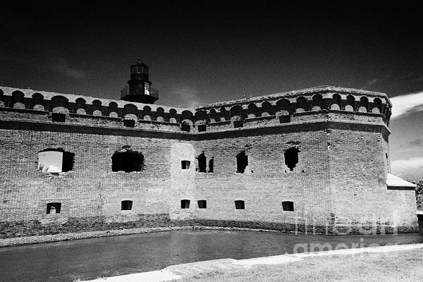 Fort Jefferson Walls With Garden Key Lighthouse Bastion And Moat Dry Tortugas National Park Florida  Print by Joe Fox