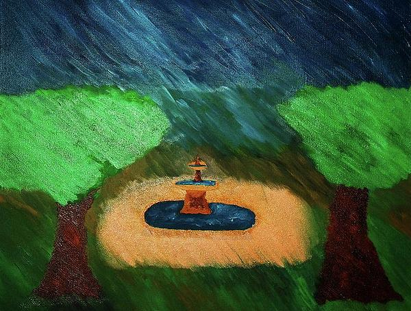 Fountain In The Midst Print by Bamhs Blair