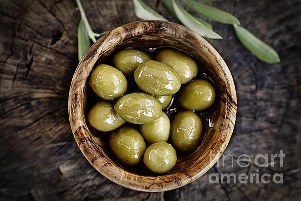 Fresh Olives Print by Mythja  Photography