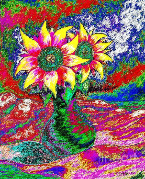 Funky Sunflowers Print by Annie Zeno