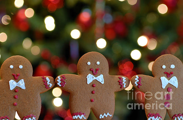 Gingerbread Men In A Line Print by Amy Cicconi