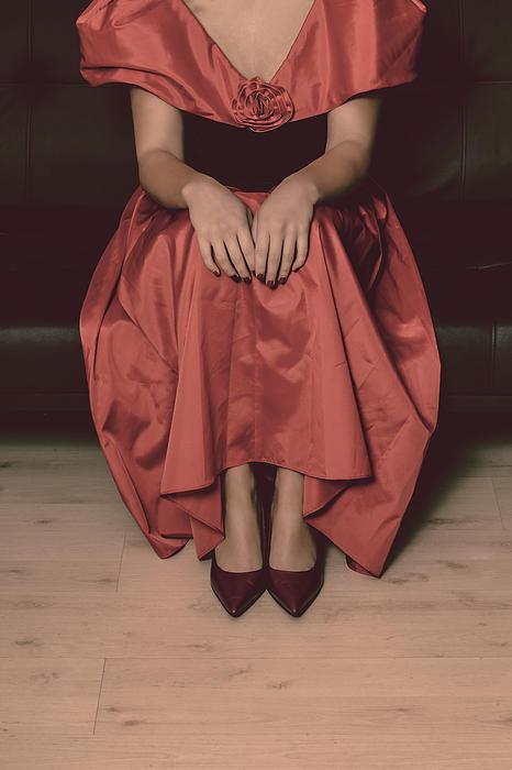 Girl On Black Sofa Print by Joana Kruse
