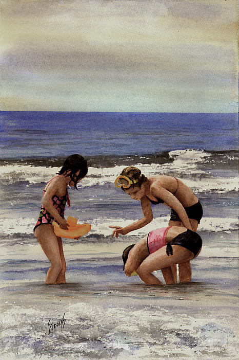 Girls At The Beach Print by Sam Sidders