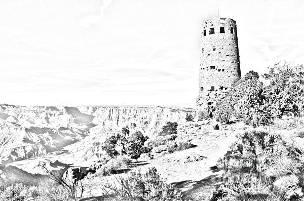 Grand Canyon National Park Mary Colter Designed Desert View Watchtower Black And White Line Art Print by Shawn O'Brien