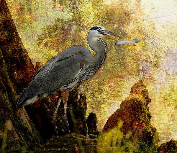 Great Blue Heron Morning Snack Print by J Larry Walker