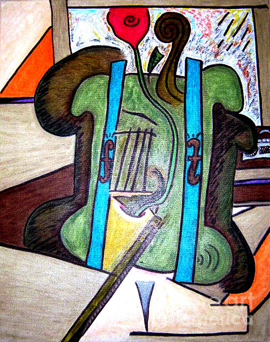 Green Cello Plants In A Pot Print by Lois Picasso