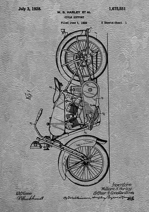 Harley Patent Print by Dan Sproul