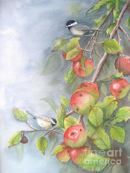 Harvest Chickadees Print by Patricia Pushaw