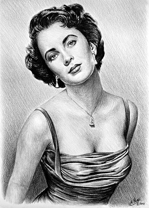 Hollywood Greats  Elizabeth Taylor Print by Andrew Read