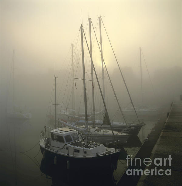 Honfleur Harbour In Fog. Calvados. Normandy. France. Europe Print by Bernard Jaubert