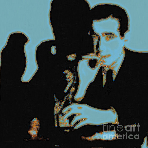 Humphrey Bogart And The Maltese Falcon 20130323m88 Square Print by Wingsdomain Art and Photography