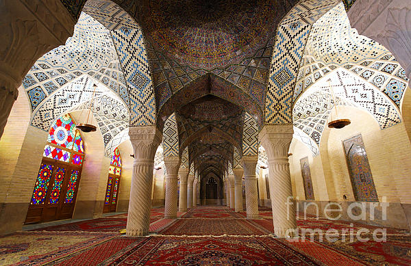 Interior Of The Winter Prayer Hall Of The Nazir Ul Mulk Mosque In Shiraz Iran Print by Robert Preston