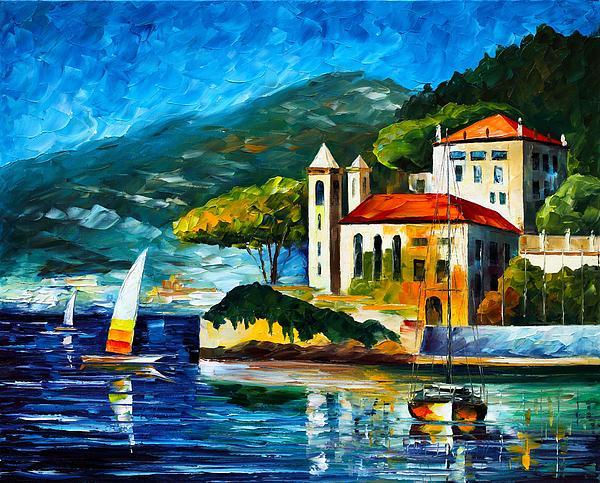 Italy Lake Como Villa Balbianello Print by Leonid Afremov