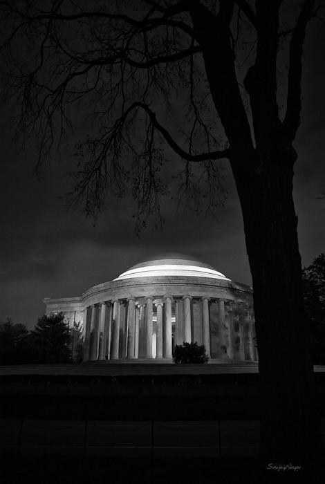 Jefferson Memorial At Night Print by Sanjay Nayar