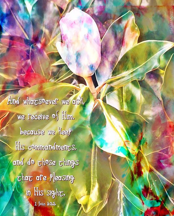 1 John 3 22 Magnolia Print by Michelle Greene Wheeler