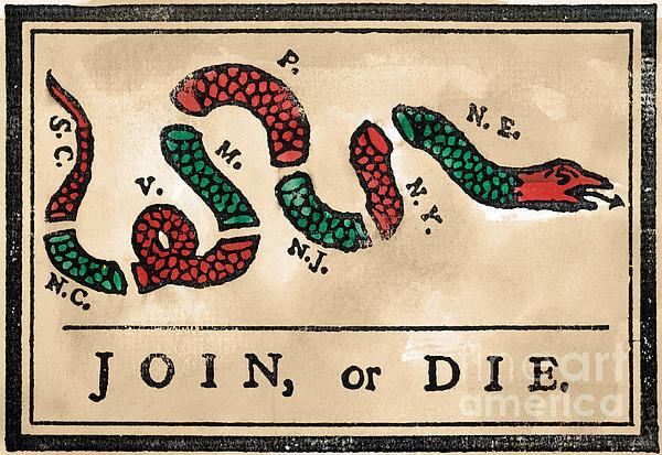 Join Or Die Cartoon 1754 Print by Granger