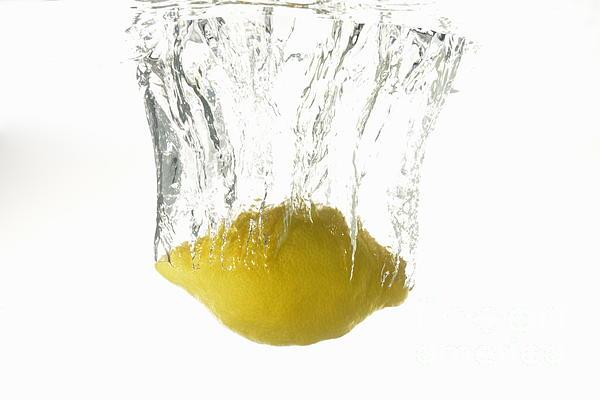 Lemon Splashing Underwater Print by Sami Sarkis