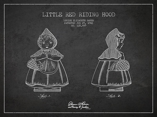 Little Red Riding Hood Patent Drawing From 1943 Print by Aged Pixel