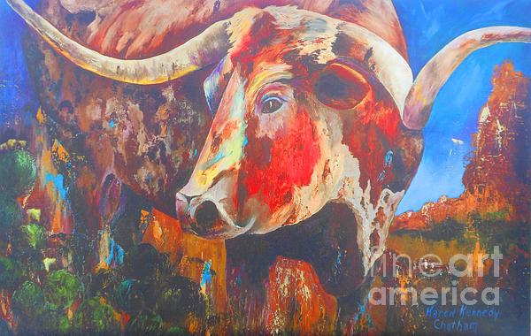 Longhorn Bull Business Print by Karen Kennedy Chatham