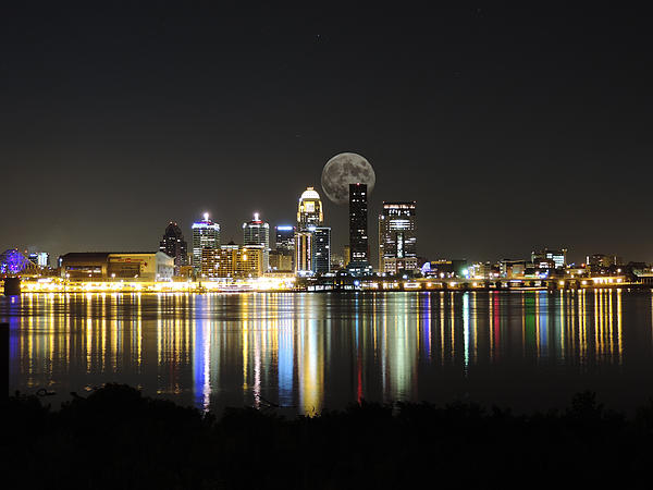 Cityscape Photography - Louisville with the Moon