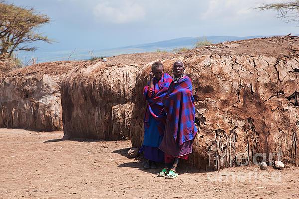 Maasai People In Their Village In Tanzania Print by Michal Bednarek