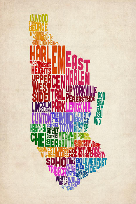 Manhattan New York Typography Text Map Print by Michael Tompsett