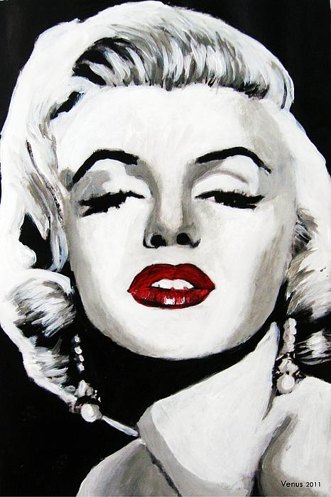 Marilyn Monroe Black And White Red Lips Canvas