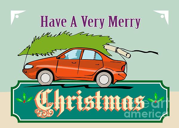Merry Christmas Tree Car Automobile Print by Aloysius Patrimonio