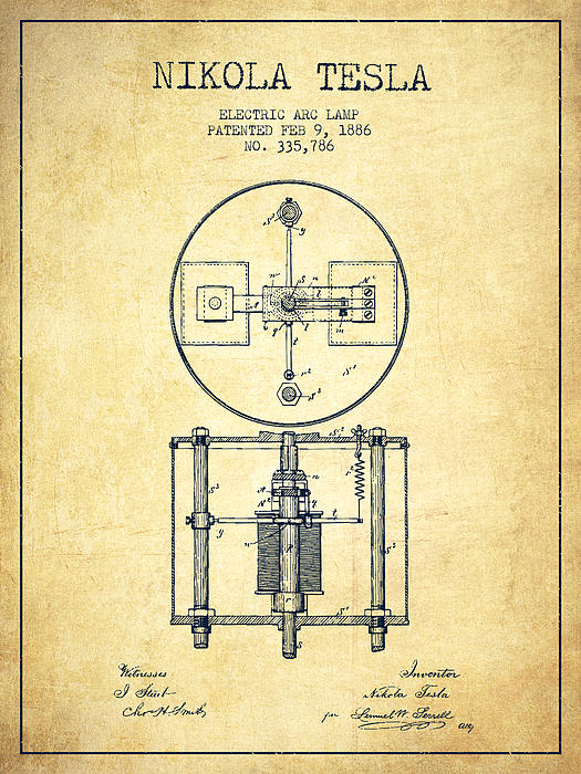 Nikola Tesla Patent Drawing From 1886 - Vintage Print by Aged Pixel