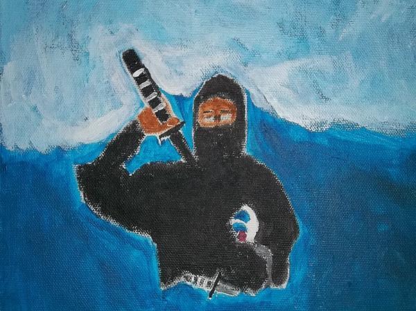 Ninja Acrylic Painting Print by William Sahir House