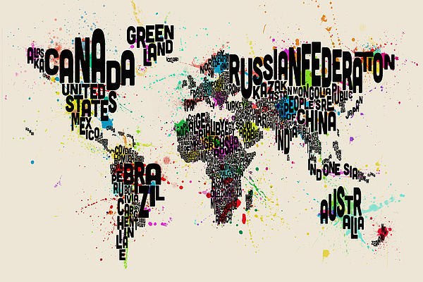 Paint Splashes Text Map Of The World Print by Michael Tompsett