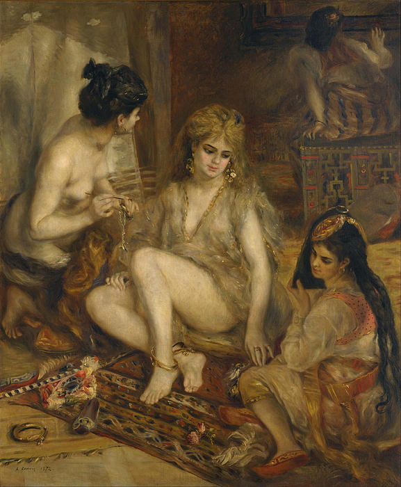 Parisiennes In Algerian Costume Or Harem  Print by Pierre-Auguste Renoir